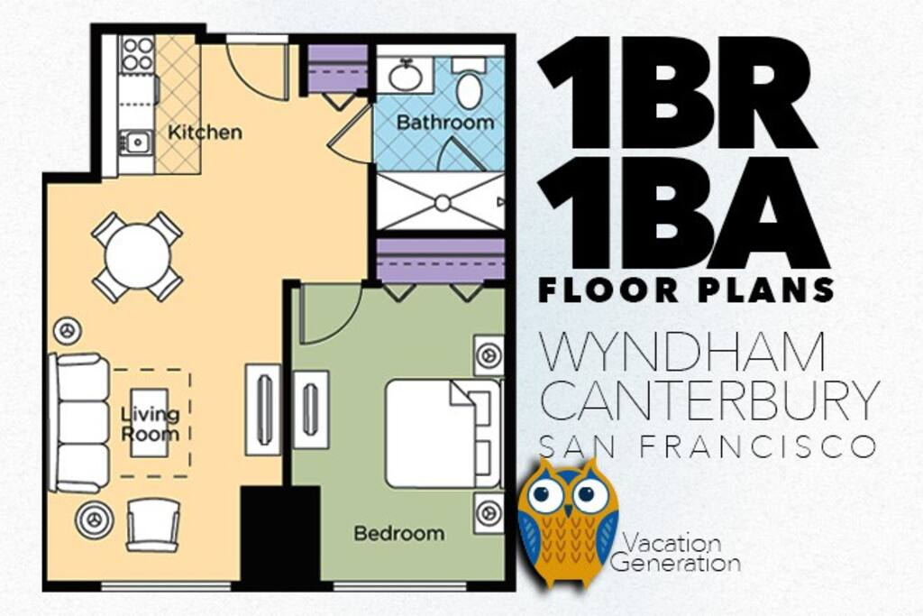 Floor plans and layout for 1 bedroom vacation rental condo at Wyndham Canterbury in San Francisco