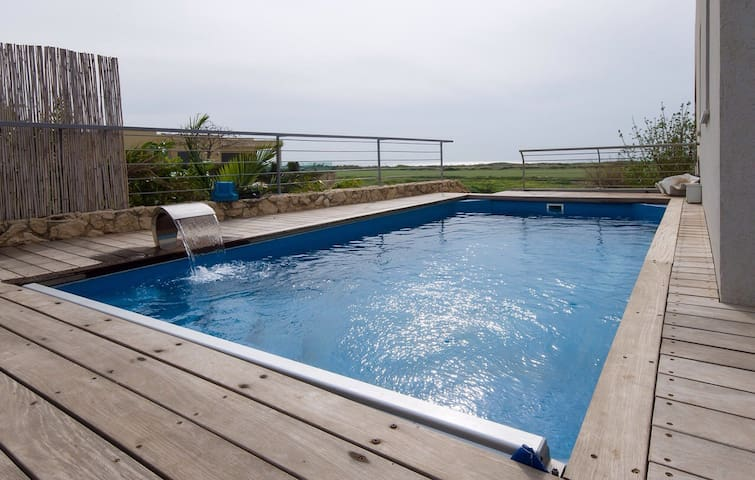 The only villa with an in ground swimming pool in Habonim on airbnb. The pool is 6 meters and for your security it can be opened and closed. The views from the pool are sensational over the nature reserve and coastline.