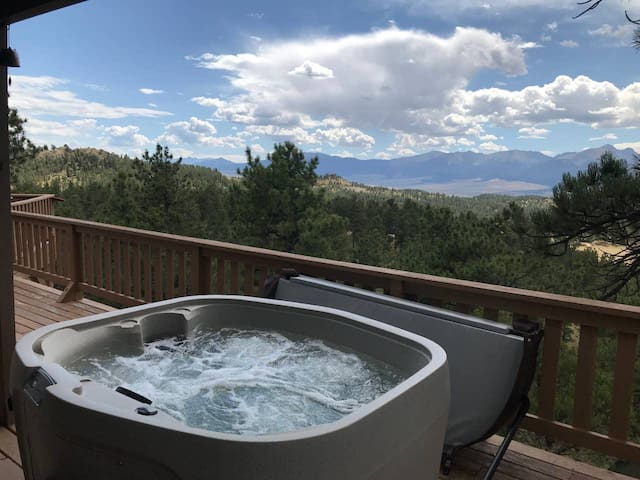 Secluded Hilltop Cabin.  Jaw-dropping Views of Sangres!  C-19 cleaning protocol.  Work via 80 Mbps Internet.