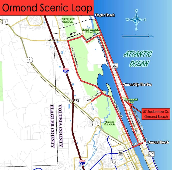 You will be staying beachside, right on the Ormond Scenic Loop!!!