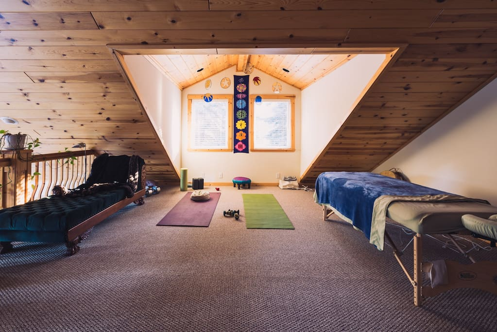 Yoga/mobility loft with chi machine, lumbar traction and discounted body work.