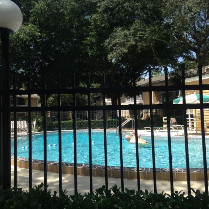 Safe enclosed pool aea next to club house. No life guard on duty