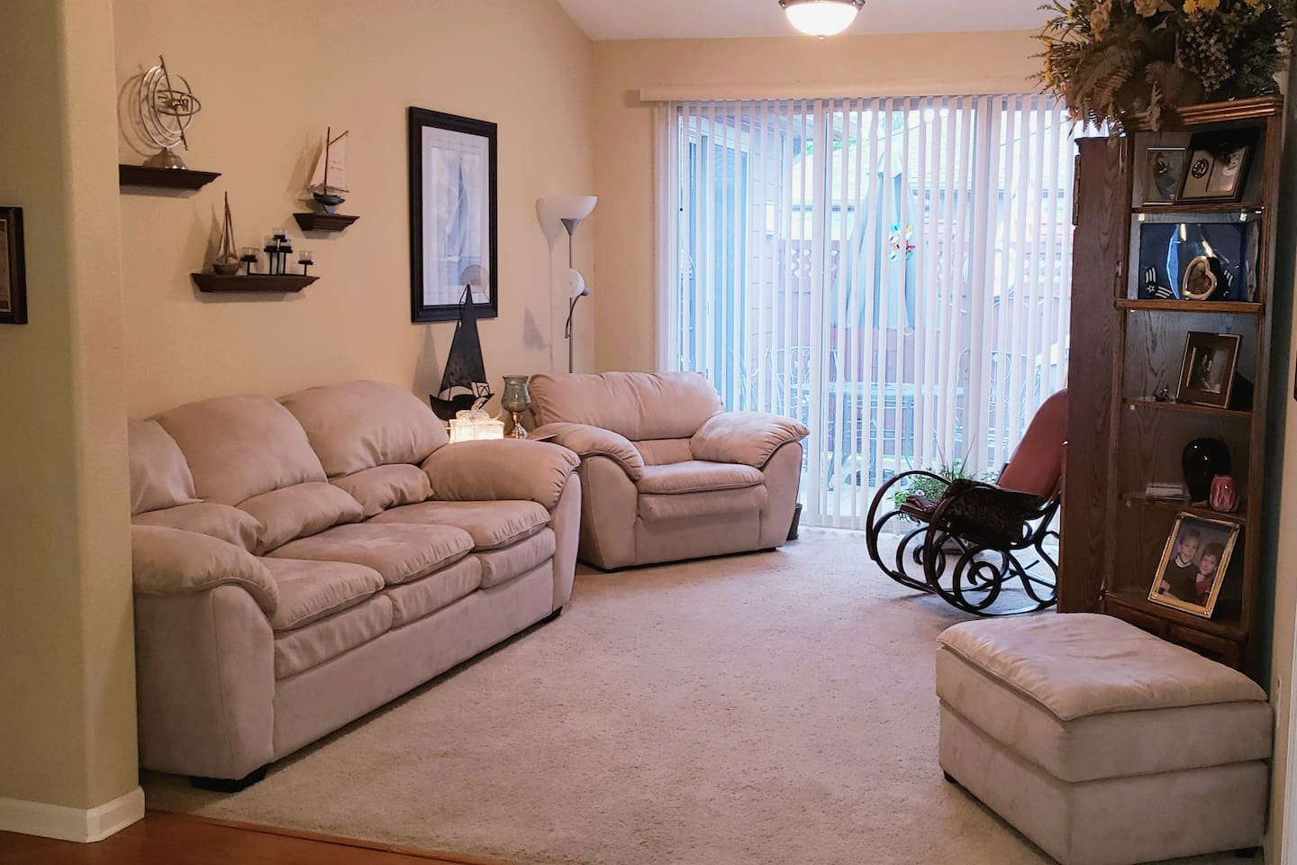 Shared living room with pull out couch.