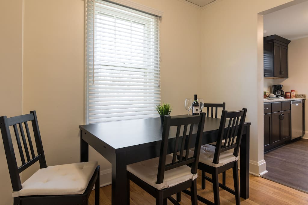 Comfortable dining area to enjoy a coffee in the morning or an entire meal in the evening.