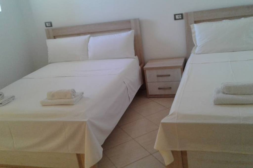 The couple`s bed in room 204