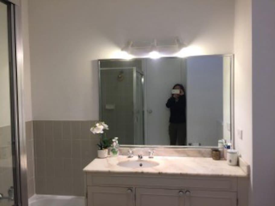 バスタブとシャワー別、天窓のついたゲスト専用の素敵なバスルーム