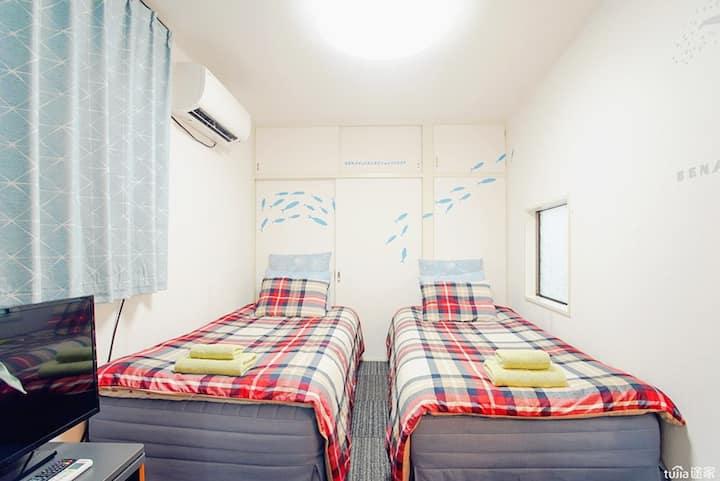 西新宿站步行6分钟的温馨公寓102,整套独立卫浴,电车2分直达新宿