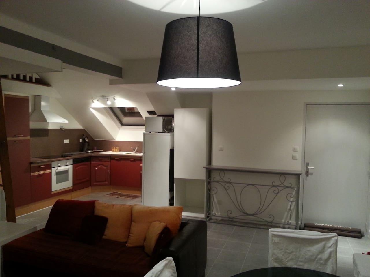 cuisine ouverte sur un salon de 35 m²