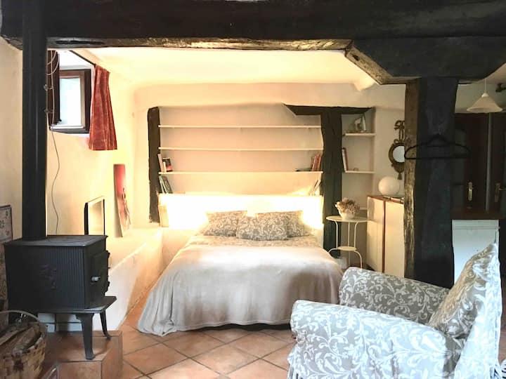 Apartamento coqueto, en casa  rústica con jardín