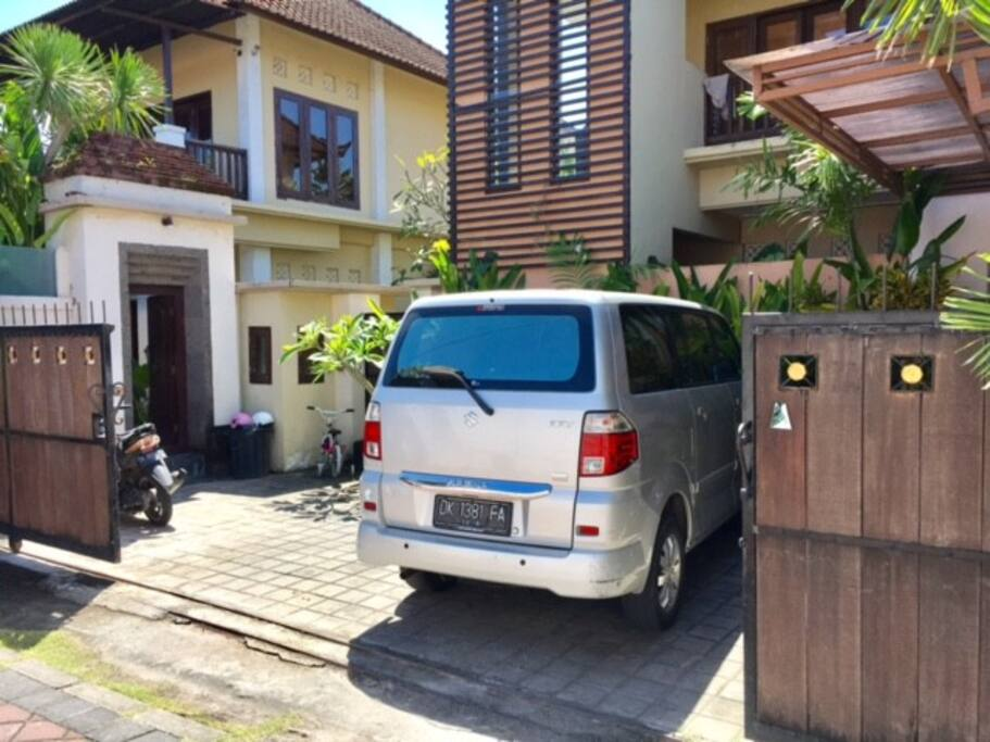 Car parking and entrance door
