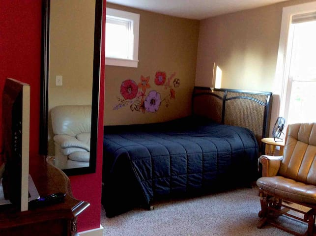 View from door living area with queen bed