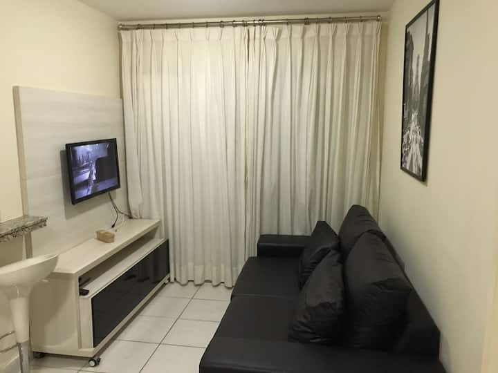 Apartamento de 1 quarto todo mobiliado