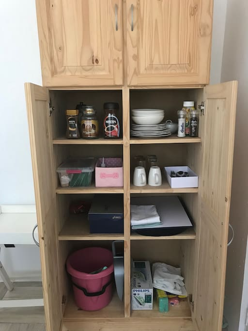 Basics are supplied in the kitchen cupboard