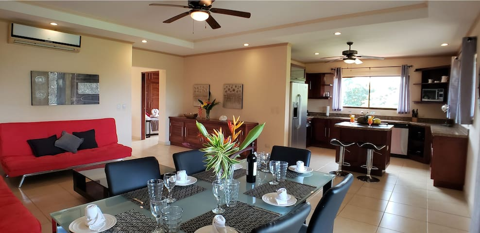 Dining area and living room space