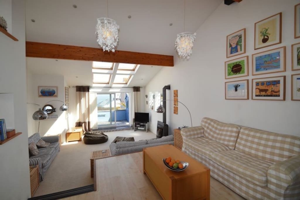 St ives beach house with parking large terrace for 27 the terrace st ives cornwall