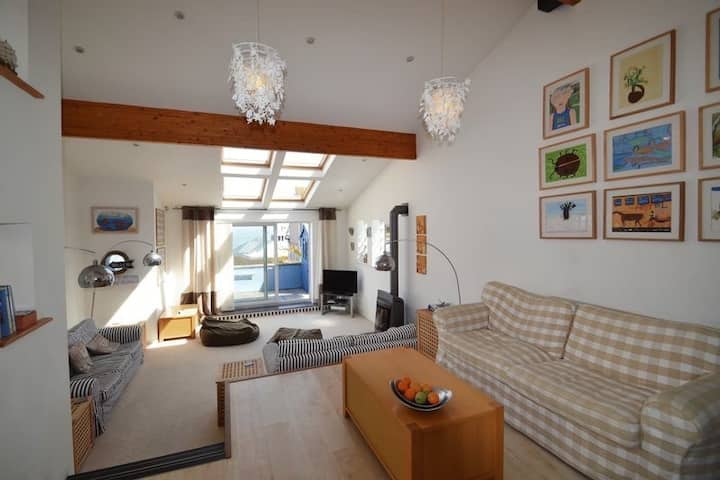 St Ives Beach House with parking & large terrace.