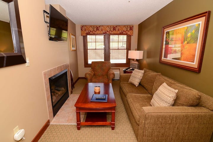 A114 - 1 Bedroom Suite with Standard View, Private Bedroom, & Fireplace!