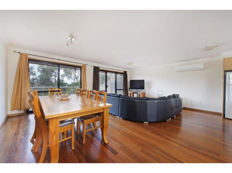 Open plan dining and family area located upstairs