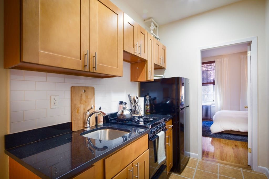 Fully equipped newly renovated kitchen has everything you might wish for should you decide to eat in. Help yourself to our spice rack etc. New appliances including gas stove