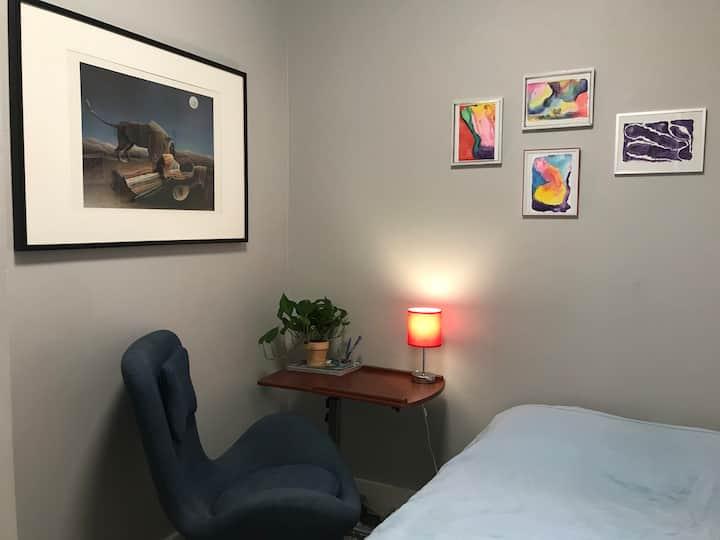 A private bedroom Uptown Manhattan. Quiet&clean.