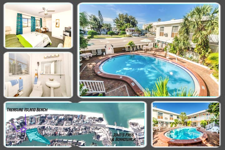 Boutique Beach Retreat, Heated Pool, Private Room!
