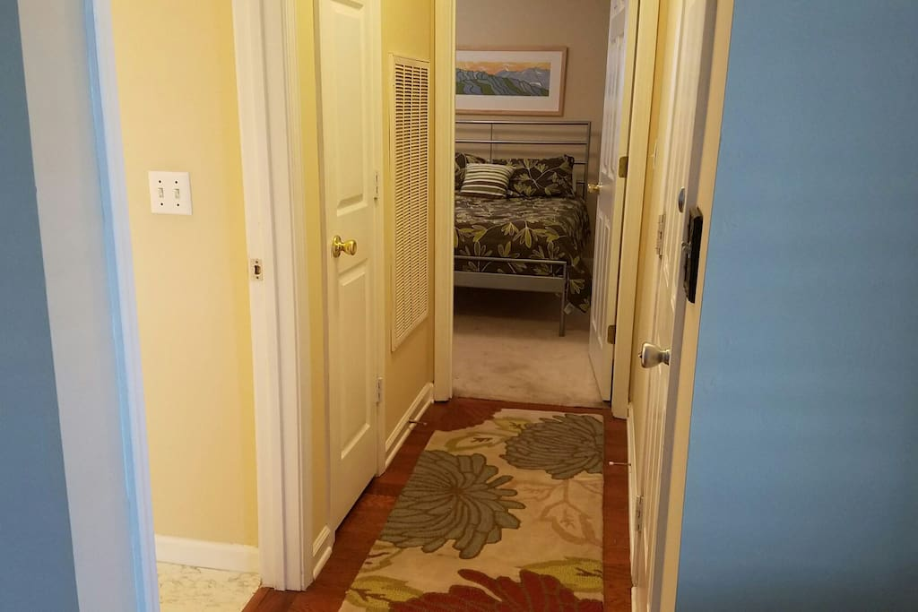 Hallway off living room with bath and bedroom .