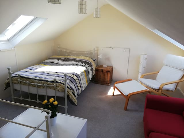 Spacious loft double room.