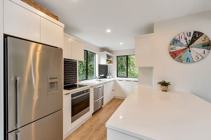 The large kitchen is fully equipped. There is plenty of storage space.