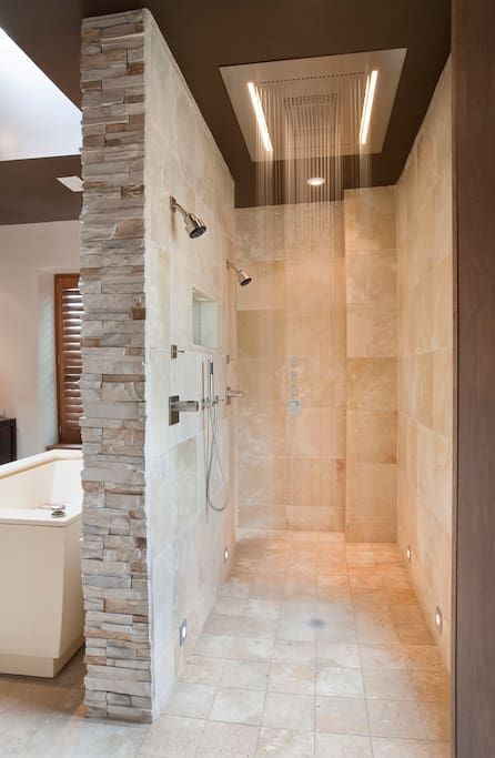 Shower area on right. Bathtub on left.