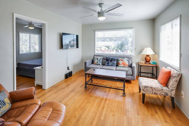 Living room features brand new modern and super comfortable furniture,  TV with cable, high-speed internet, and more!