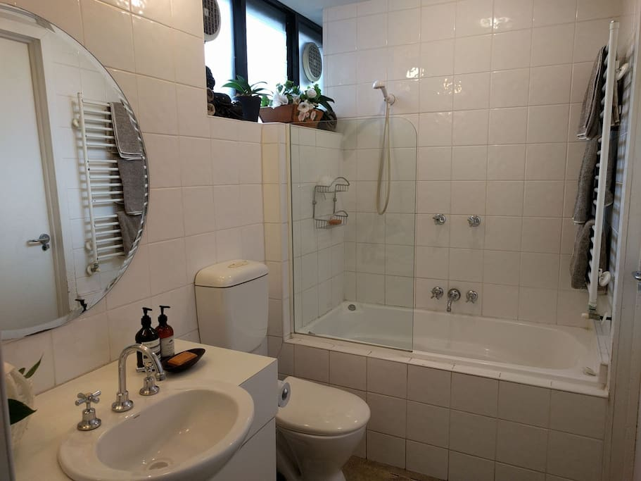 Ensuite with basin, shower, spa bath and toilet