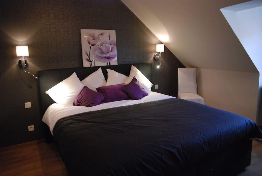 chambre pour deux personnes avec lits jumeaux et lit bébé possible