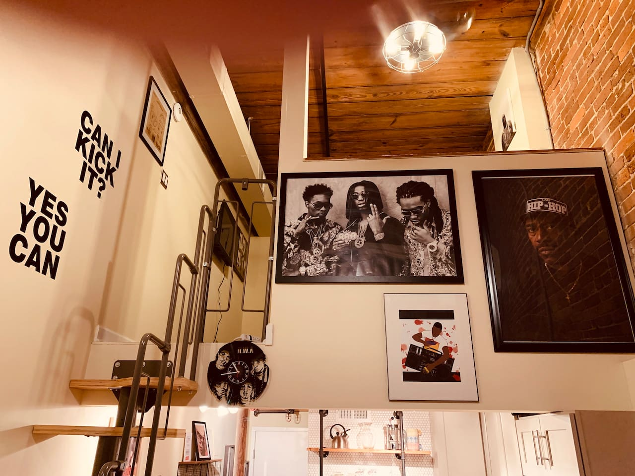 This unit is covered in cool art that makes this a museum to hip-hop culture.