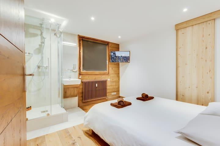La Chambre 1 avec sa télévision, sa douche et son Lavabo