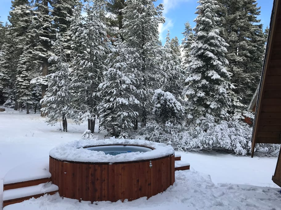 Hot tub with snow fall