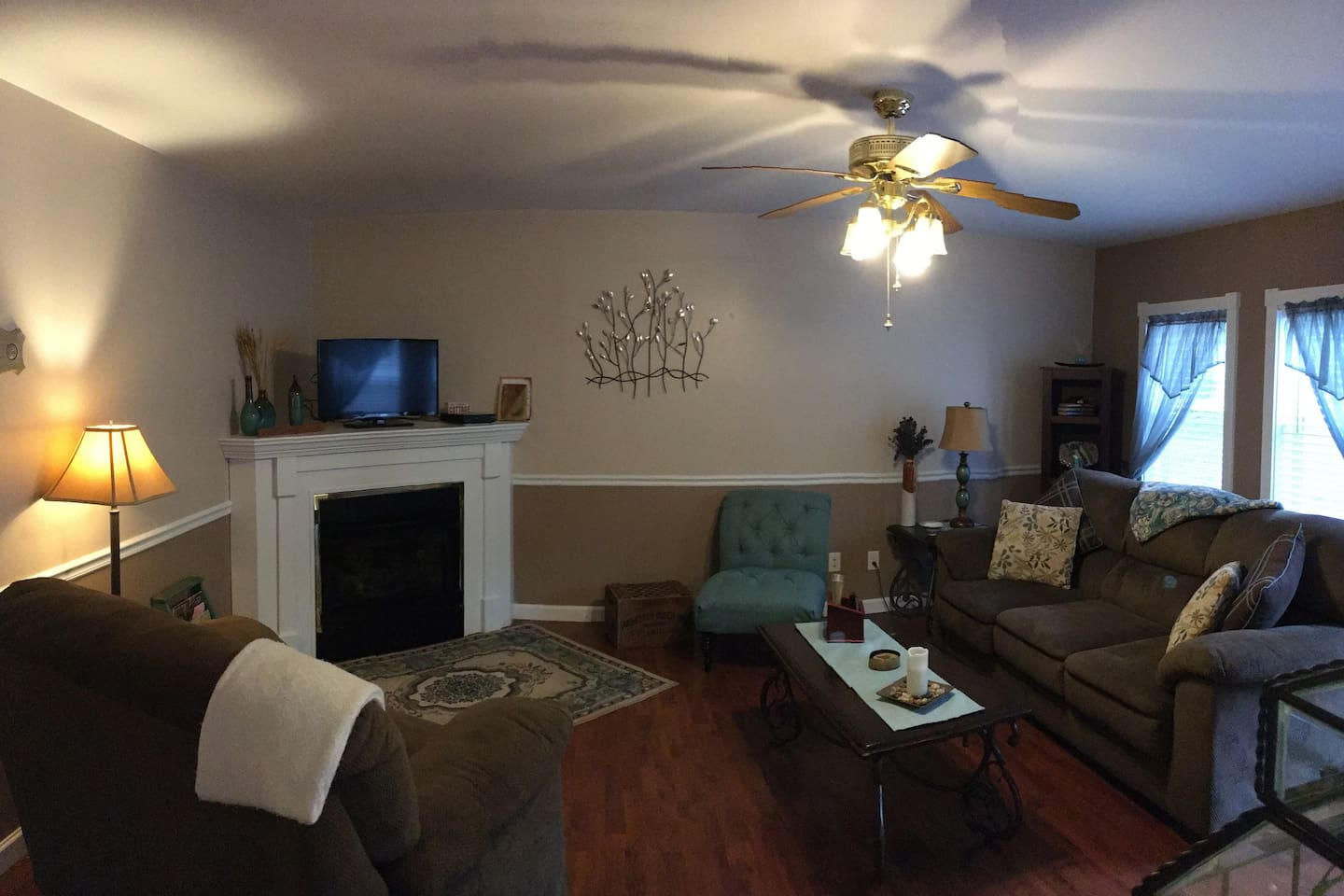 Comfy oversized furniture in living room, great for relaxing