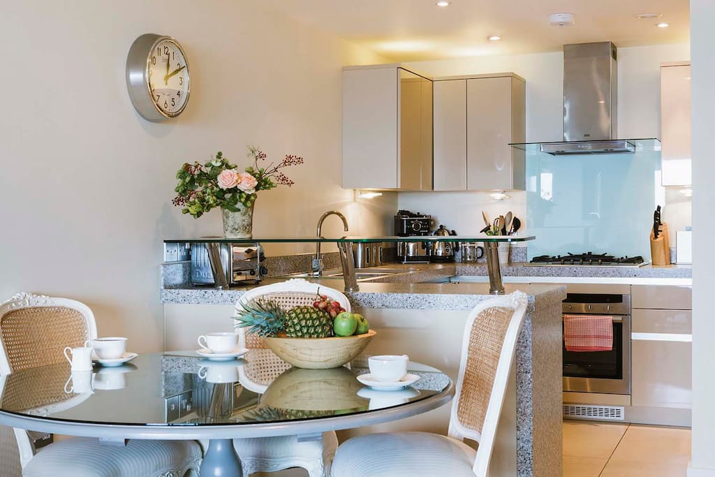 Open plan dining and kitchen with all the mod cons you may need during your stay