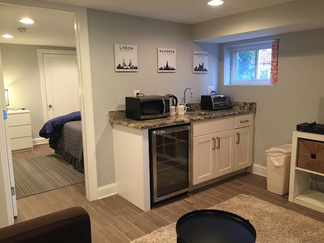 Kitchenette with microwave, toaster oven, coffee and tea