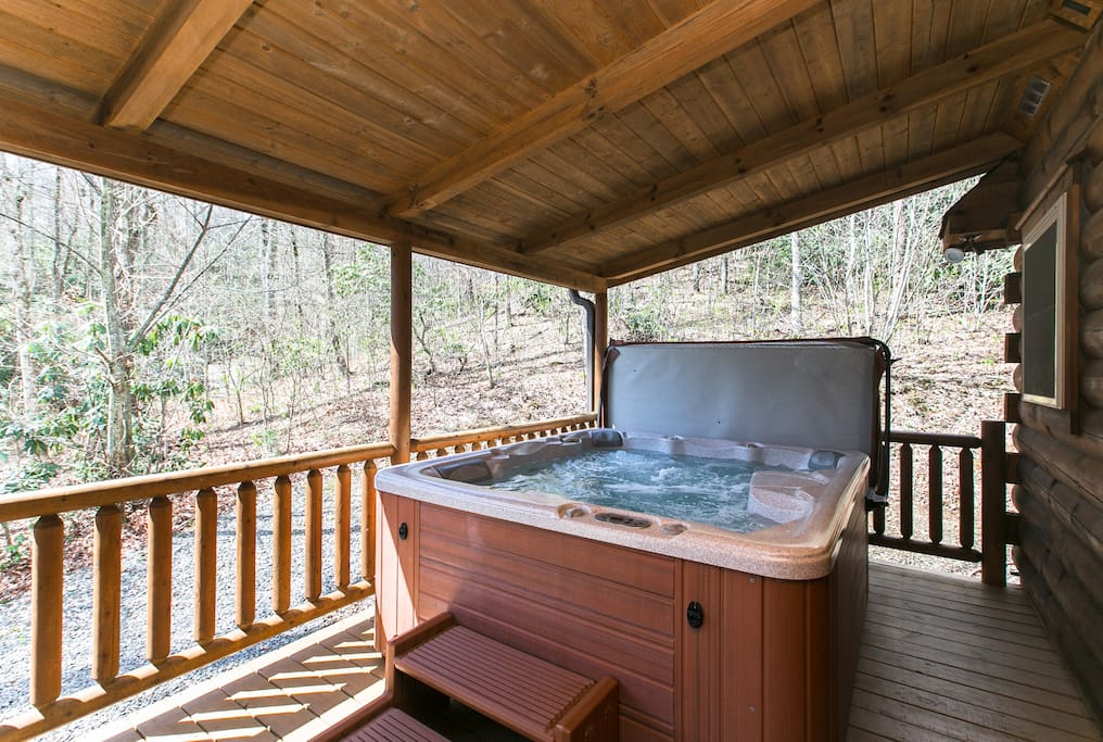 Hot Tub on Porch with Mountain Views