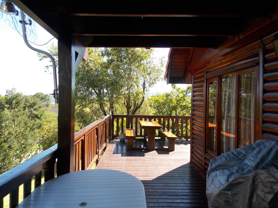 80 square metres of sun deck for out door living with a view of the lagoon.