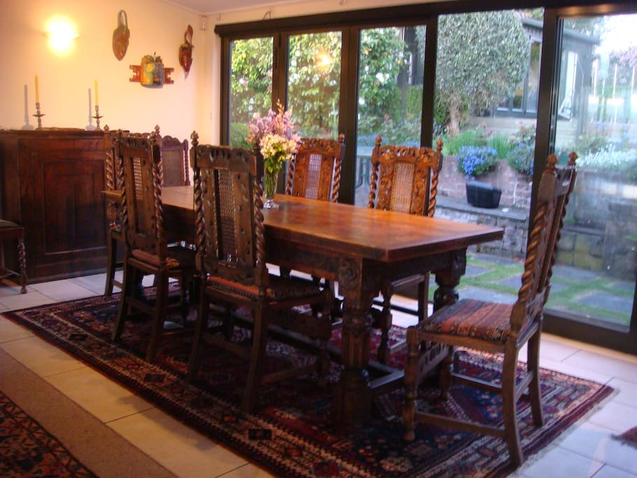 Dining room in house where cottage guests can have breakfast if required