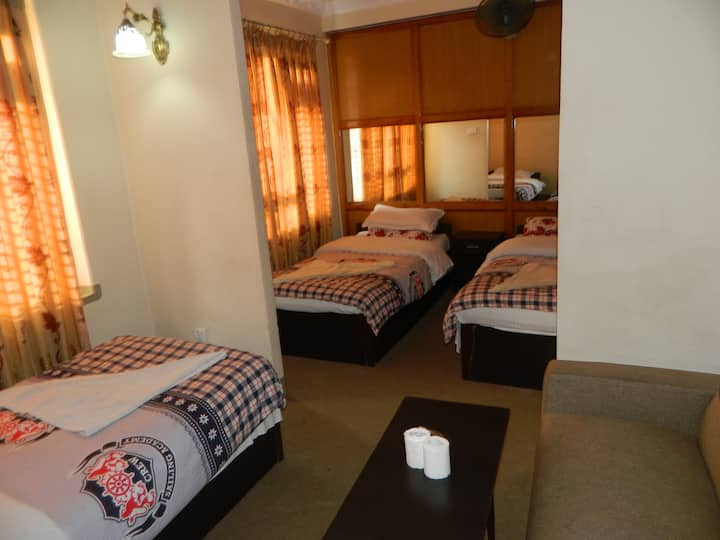 Triple bed with private bathroom.