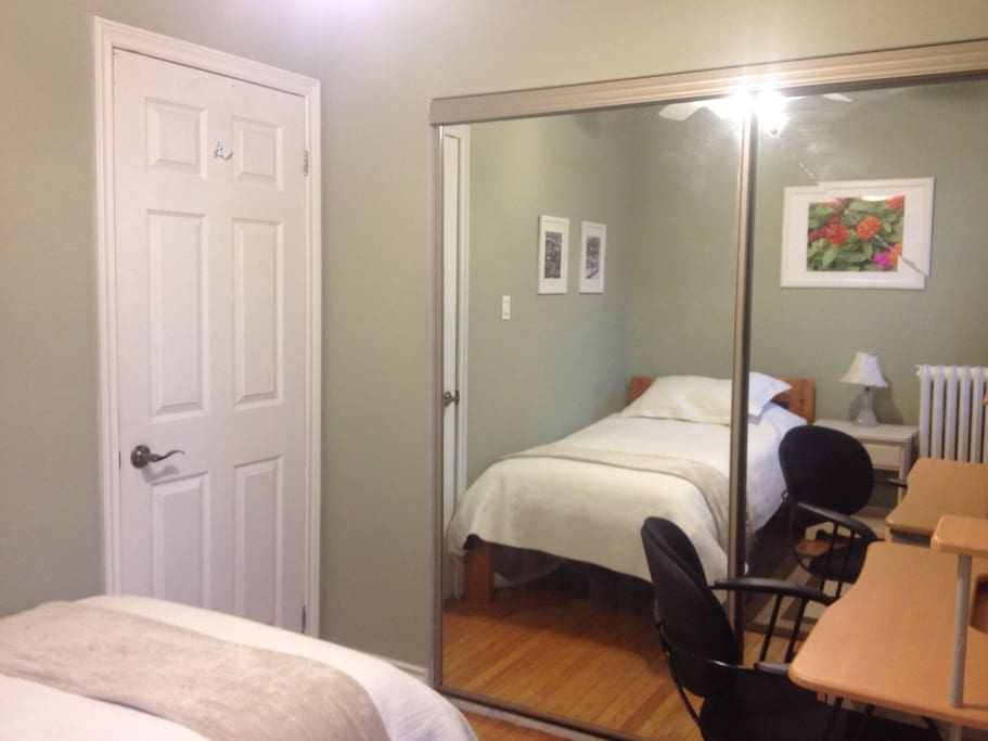 Single bed on 2nd floor. Desk chair, closet, dresser.