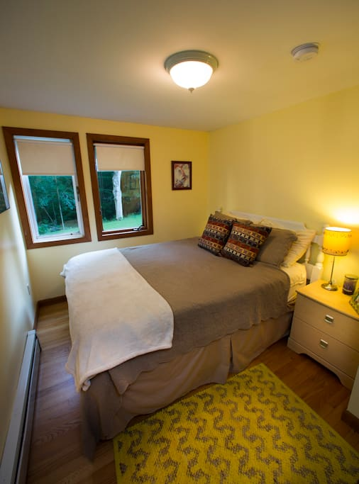 The Bedroom. Queen sized + memory foam mattress.  Decor changes through out seasons.