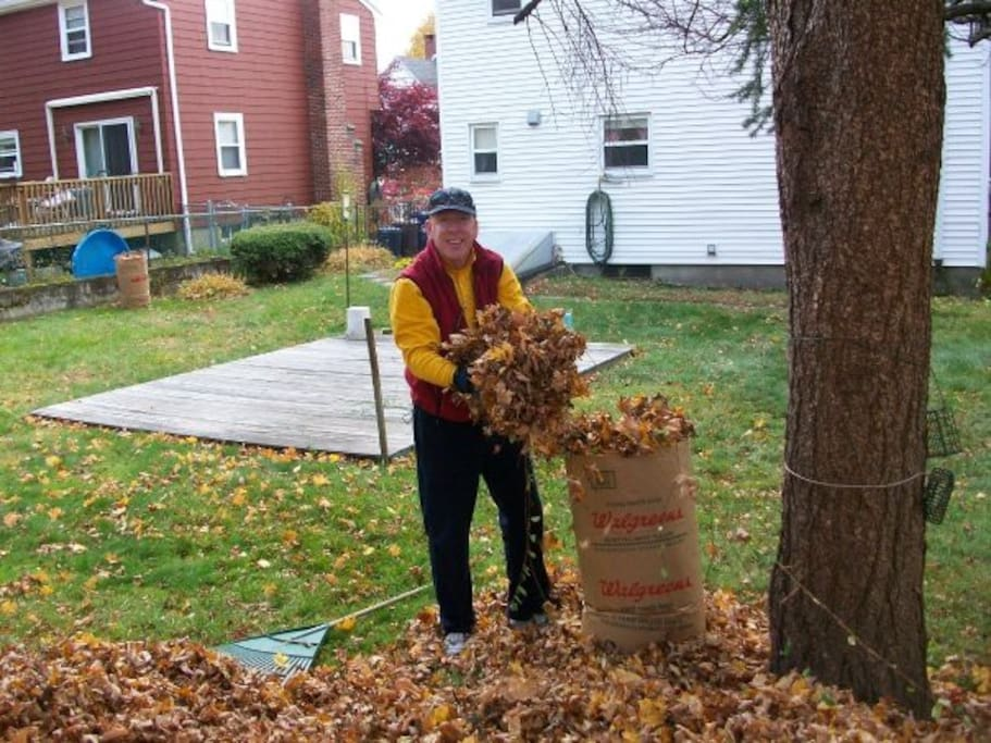 Me raking up leaves in the fall.