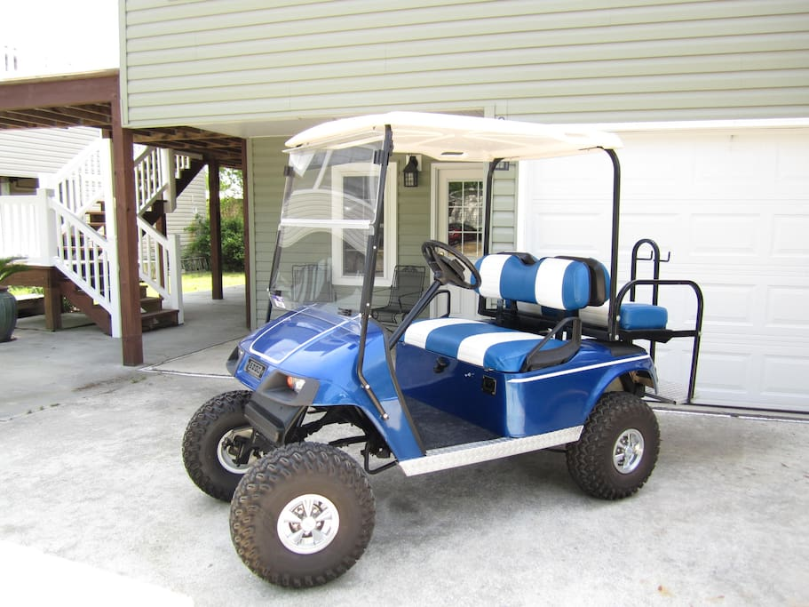 High end golf cart for travels around our gated beachfront community!