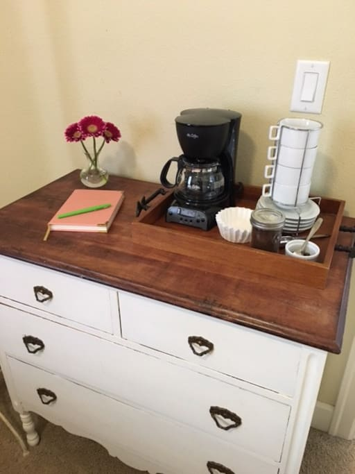 Coffee station in the bedroom