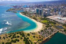 Aerial view Kewalo Basin to Ala Moana Beach Park