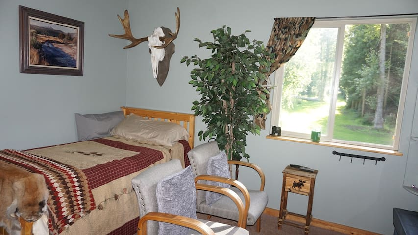 Twin bed and chairs.