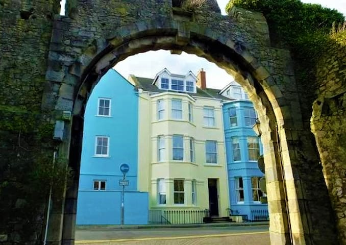 Panoramic views over Tenby town walls and beach
